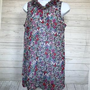 Cabi Sz S Sleeveless Ruffle Neck Liberty Floral